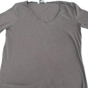 Women's Cabi Tee, Brown v neck, long sleeve, Sz L